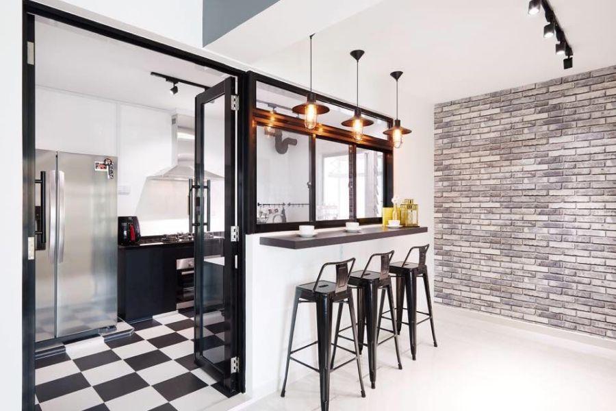 Verriere entre la cuisine et le salon